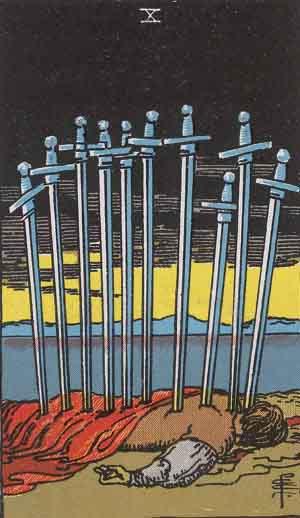 10 de Espadas - Tarot Rider Waite
