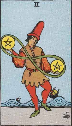 2 de Oros - Tarot Rider Waite