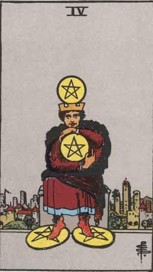 4 de Oros - Tarot Rider Waite
